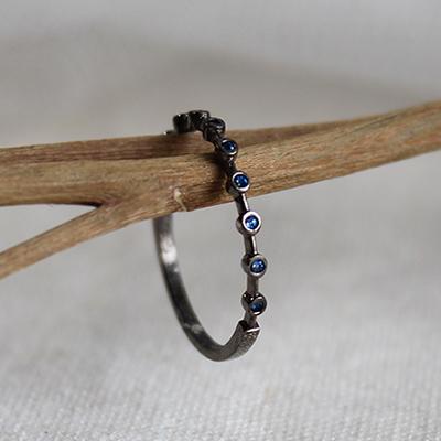 미니멀 블루 큐빅 반지 minimal blue cubic ring