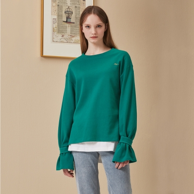 [STELLA7] Sleeve Detail Long Sleeve TS(Green)_(515192)