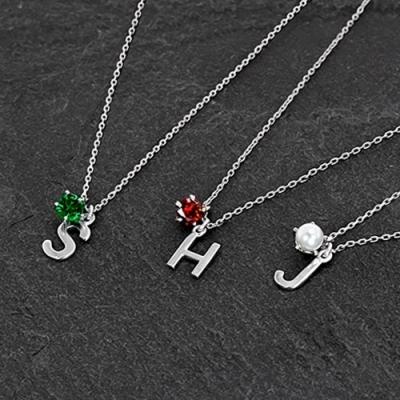 [선물포장]92.5 Silver 탄생석+이니셜 목걸이
