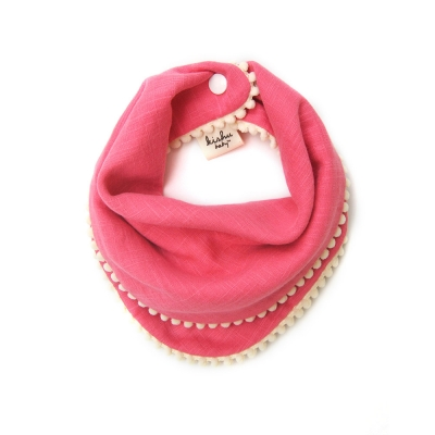 [kishu baby] 양면 스카프빕 Pom Pom Pink + Ivory SET