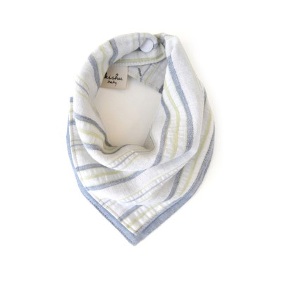 [Kishu baby] 양면 오가닉 스카프빕 Sage gray stripe organic