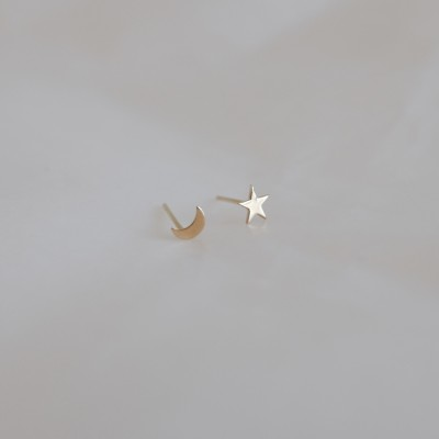 14k Gold Moon , Star Earring