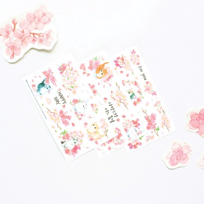마넷 컷팅스티커 sampler - 벚꽃고양이2