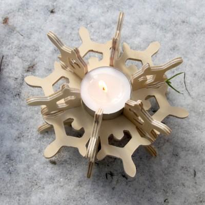 [포코]자작나무 눈꽃 티라이트 캔들홀더-입체