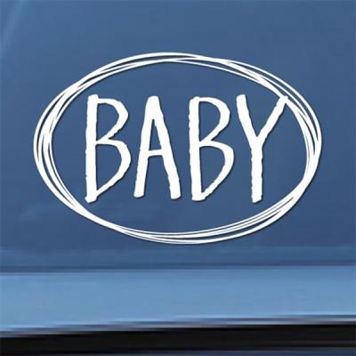 baby on board 손글씨 카스티커