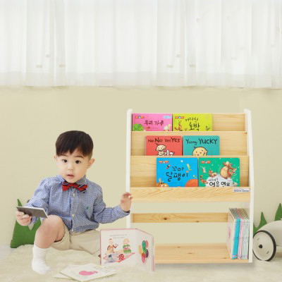 [맘스보드]맘스제니전면책장 바닐라화이트 / 유아 어린이책장