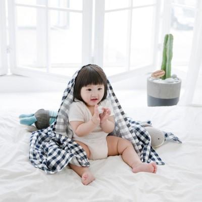 코니테일 퓨어 거즈블랭킷 - 네이비체크 (신생아속싸개 아기이불 거