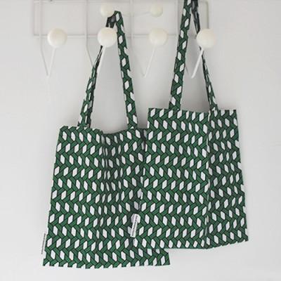 raffia green bookstore bag