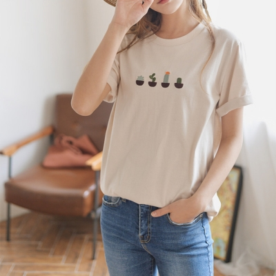 선인장자수 티셔츠 * 2c