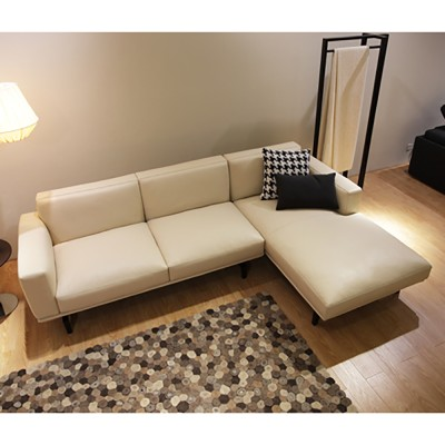 Warm Leather Couch Sofa (웜 레더 카우치 소파 - 아이보리 가죽)