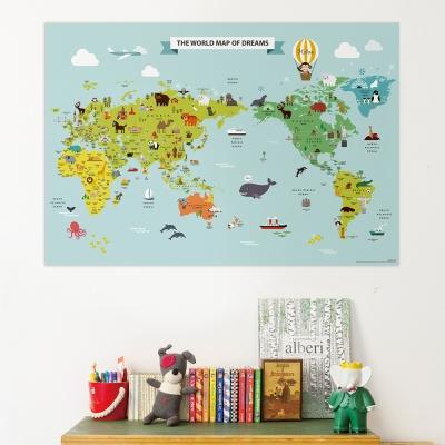 [기성]세계지도 동물 랜드마크
