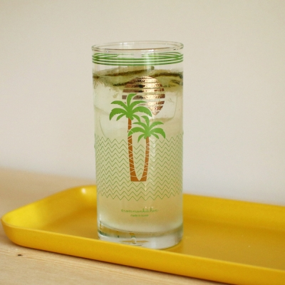 커먼키친 Retro Gold Coconut tree glass