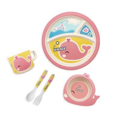 (New) 채니비니 대나무유아식기 5종 세트_미소천사 핑크고래