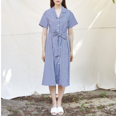 CHECK SHIRTS ONE-PIECE(NAVY)