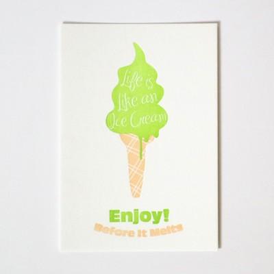 LIFE IS ICECREAM 아이스크림 레터프레스 엽서