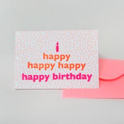 Happy birthday 생일축하 케이크 네온 오렌지 핑크 레터프레스 카드