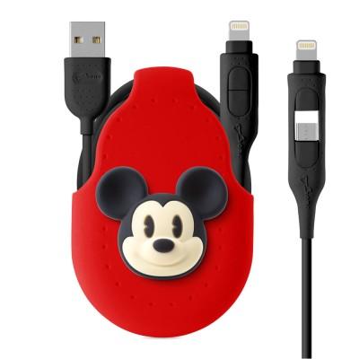[애플인증] 디즈니 미키 고속충전 케이블 5핀 8핀 2IN1