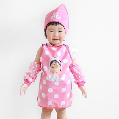 [키미티즈] 헬로우시리즈 - 포토 방수 어린이앞치마 3종세트(핑크)