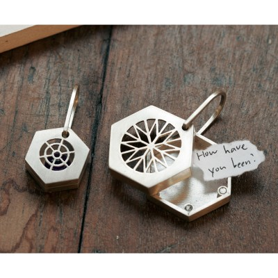 [normaldott] Silver magnet locket pendant | hexagon type