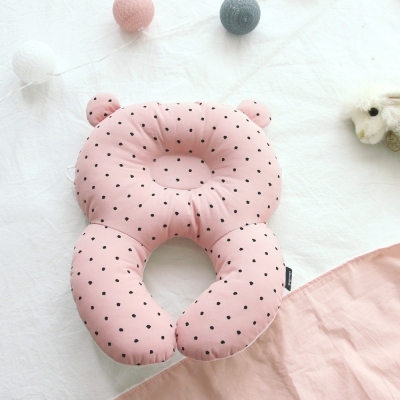 코니테일 아기 목베개 - 핑크도트 (유모차목쿠션)