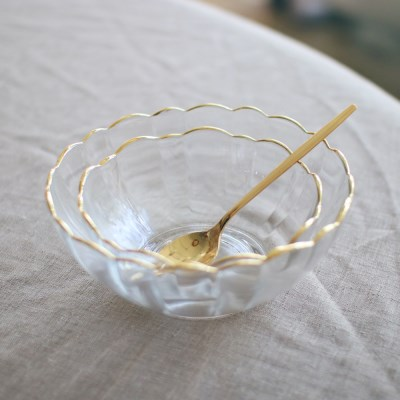 Gold edge flower bowl (2size)