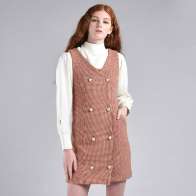 [hand me down/핸드미다운] Marshmello Tweed Dress – Pink
