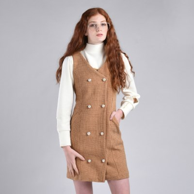 [hand me down/핸드미다운] Marshmello Tweed Dress – Brown