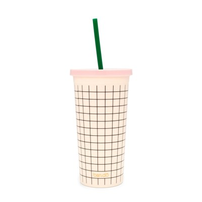 sip sip tumbler with straw, mini grid