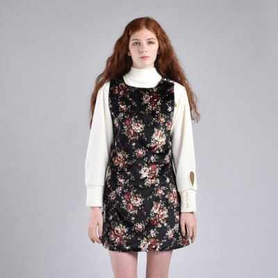 [hand me down/핸드미다운] Flower Printed Velvet Little Dress