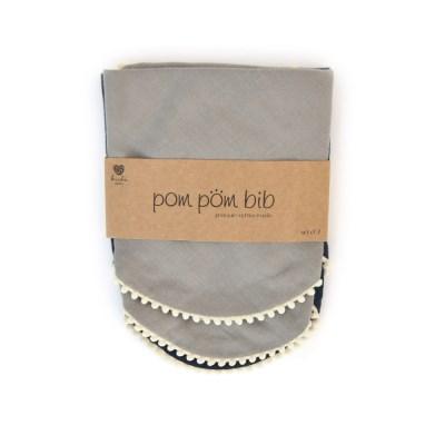 [kishu baby] 유아스카프빕 Pom Pom Gray + Navy SET