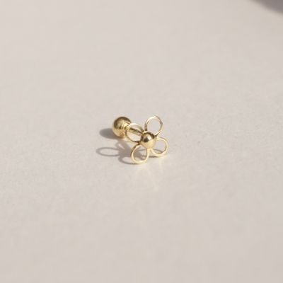 14k gold line flower piercing