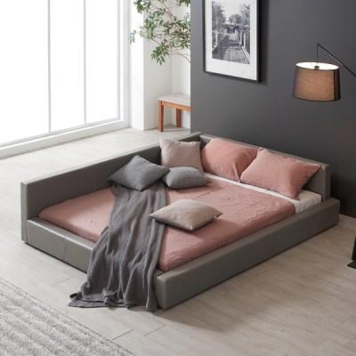 [스크래치] 모던라운지 낮은 가죽 침대 퀸+독립매트_(11196267)