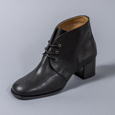 [흰]HS1713 Lace-up Ankle Boots_Black
