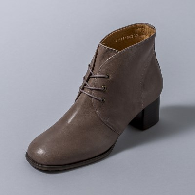 [흰]HS1713 Lace-up Ankle Boots_Grey