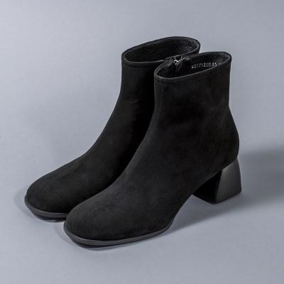 [흰]HS1712 Suede Ankle Boots_Black