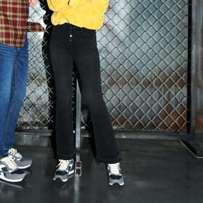 Button High-rise Bell Bottom Jeans(여성용)