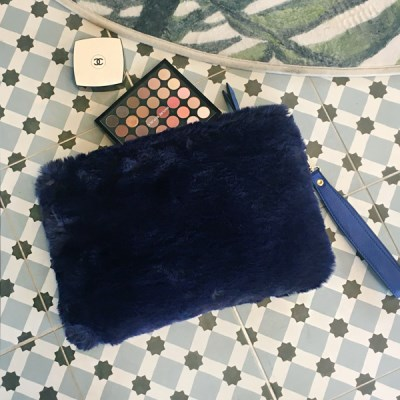 Fur Clutch Blue
