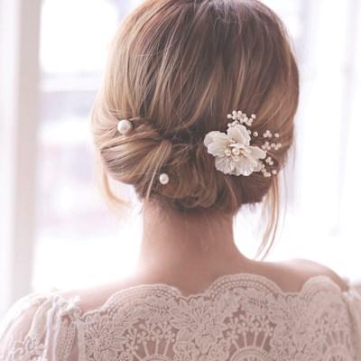 자개 플라워 웨딩 한복 뒤꽂이 비녀