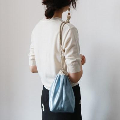 glossy pouch bag _ sky blue