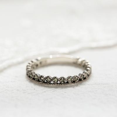 [925실버]페리도트 크라운 반지