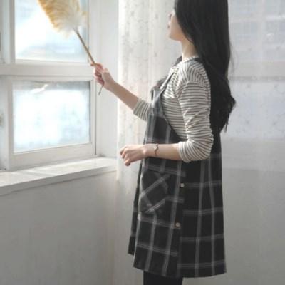 루즈핏 트렌드 타단체크 원피스형 앞치마 ( 2COLOR)