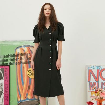 [6/4 예약배송]Puff Button Dress In Black