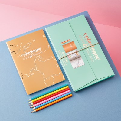 [럭키스] 세계지도 컬러링북 색연필 세트_(1348678)