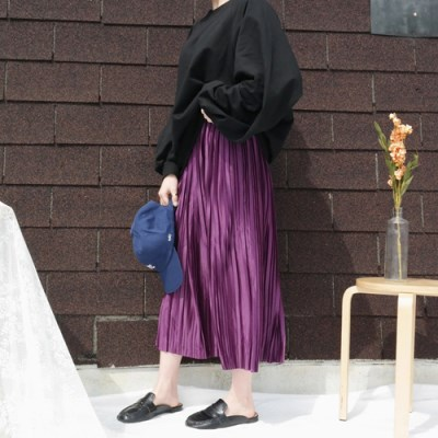 Shining pleats long skirt