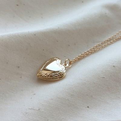 heart locket necklace (2colors)