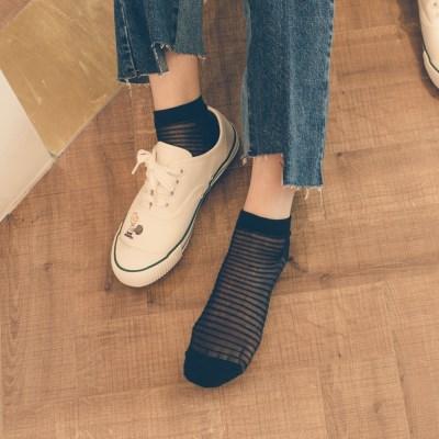허니비 세련된 줄무늬 시스루 발목 양말