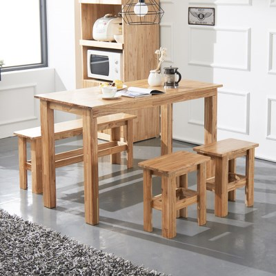 [노하우] 케이 원목 4인 식탁세트 (의자2+벤치1)_(896145)