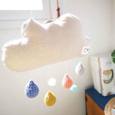 레인보우 리넨 구름 물방울 코바늘 모빌 DIY