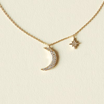 [하우즈쉬나우] Moon and Star, Cubic Zirconia Necklace