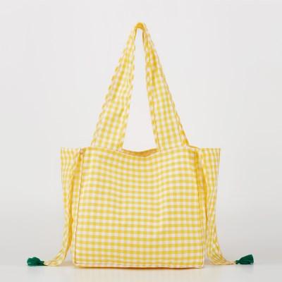 체크숄더백_Yellow